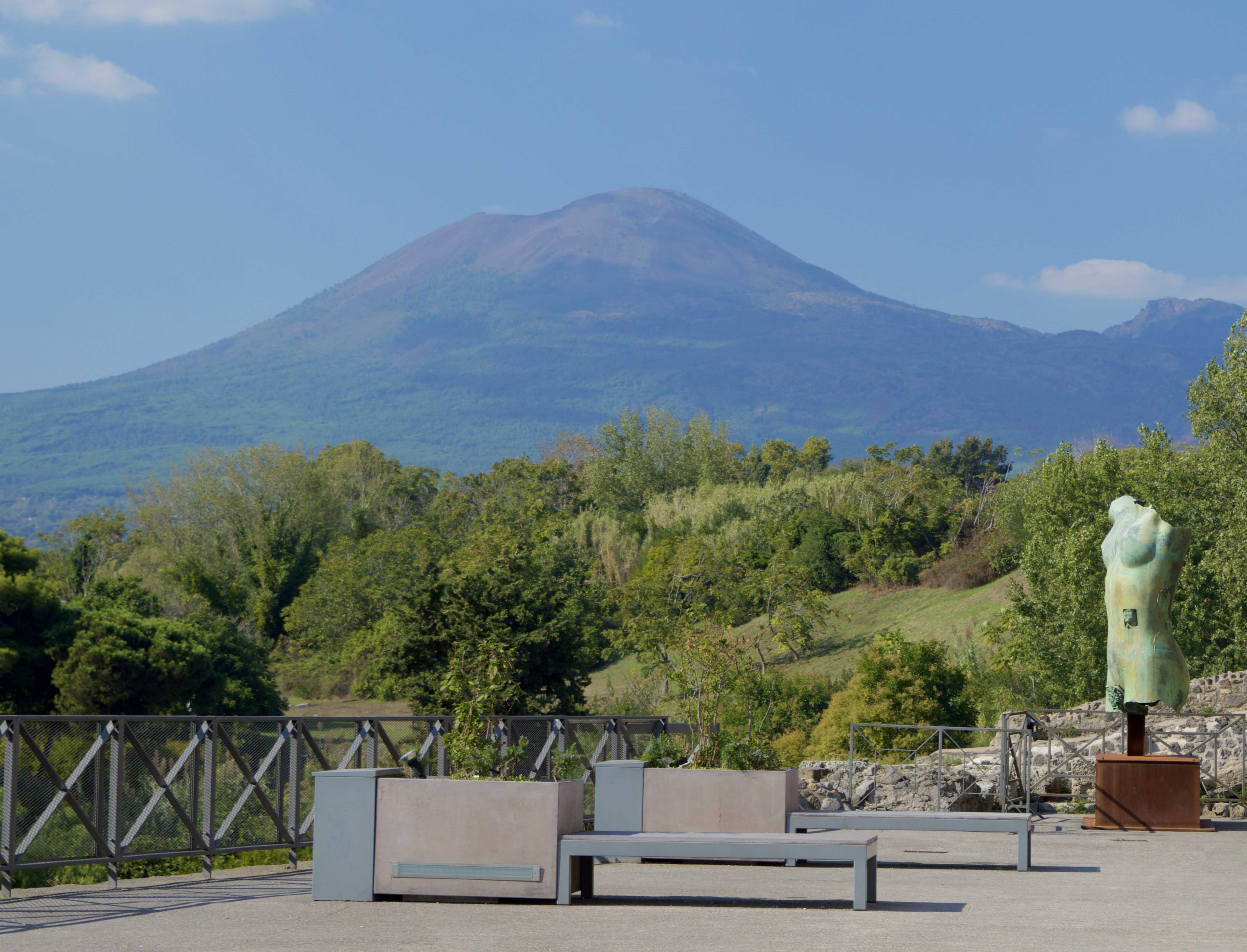 The view of Mount Vesuvius from Pompeii